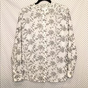 Floral Button Down Round Neck Tab Sleeve Top